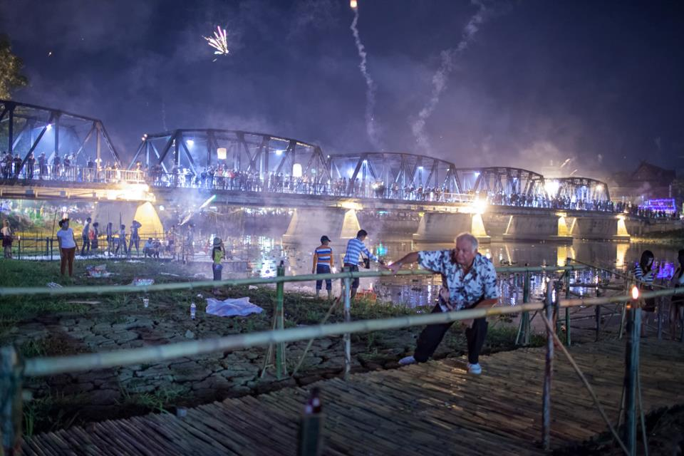 Fireworks from Mae Ping river in Chiang Mai