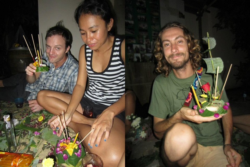 People making floats from bamboo and flowers